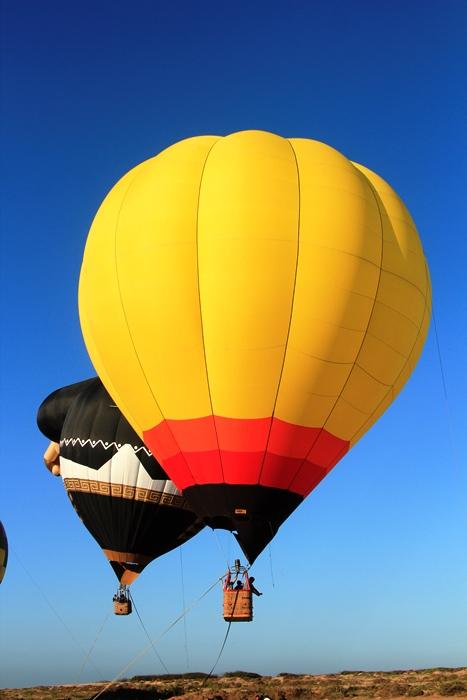 """Esta mañana, enormes figuras con candente interior, luchaban contra las ataduras que nos les permitían elevarse al cielo azul de Mazatlán. Esa fue la primera impresión que tuvimos quienes asistimos a la sede del festival con el fin de experimentar un vuelo """"anclado""""."""