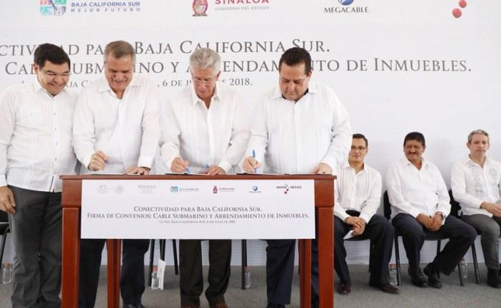 Firman convenio de colaboración Megacable, SCT y autoridades de Baja California Sur  y Sinaloa