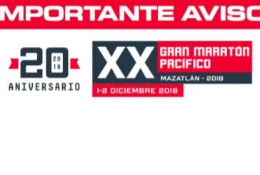 Anuncian cierre de calles por Gran Maratón Pacífico Mazatlán 2018