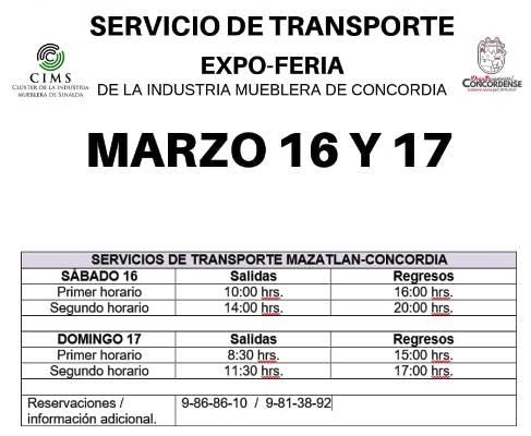 Expo Feria Mueblera Concoria 2019 Servicio de Transportación