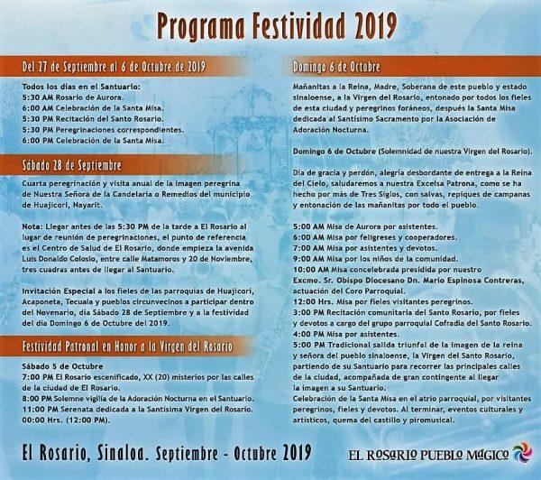 Santísima Virgen del Rosario 2019 Programa