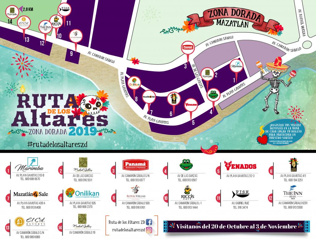 La Ruta de los ALtares Zona Dorada Mazatlán Mapa 2019