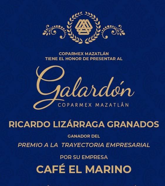 Ricardo Lizárraga Granados Reconocido Trayectoria EMrpesarial Café el Marino Coparmex Mazatlán 2019 (2)d
