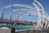 Considerable avance muestra la cubierta que se instala en la Alberca Olímpica de la Sahop