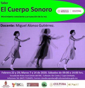 Banner web El Cuerpo Sonoro, impartido por el Mtro. Miguel Alonso Gutiérrez