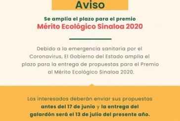 Premio al Mérito Ecológico Sinaloa 2020