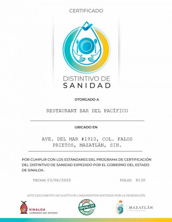 Restaurante del Pacífico de Mazatlán el Primero en Recibir Certificado de Sanidad del Gobierno de Sinaloa 2020