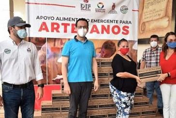 Entregan apoyo alimenticio a artesanos de Concordia