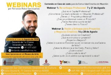 Ofrecerán webinars para la Comunidad Creativa Mazatleca