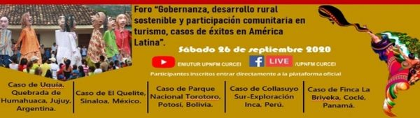 Foro Gobernanza Desarrollo Rural Sostenible y Participación Comunitaria en Turismo 2020 1