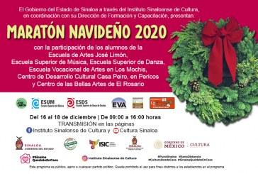 Del 16 al 18 de diciembre, el Maratón Navideño  2020 de alumnos de artes del ISIC
