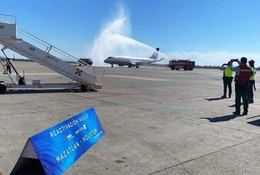 Sinaloa recibe el vuelo Houston-Mazatlán de la aerolínea United Airlines