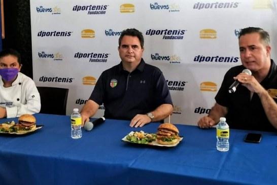 Dportenis, La Hamburguería y Los Huevos Días y Noches lanzan hamburguesa con causa