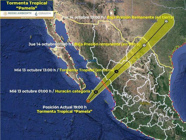 Tormenta Tropical Pamela Trayectoria a las 19 Horas del 12 de Octubre de 2021 a